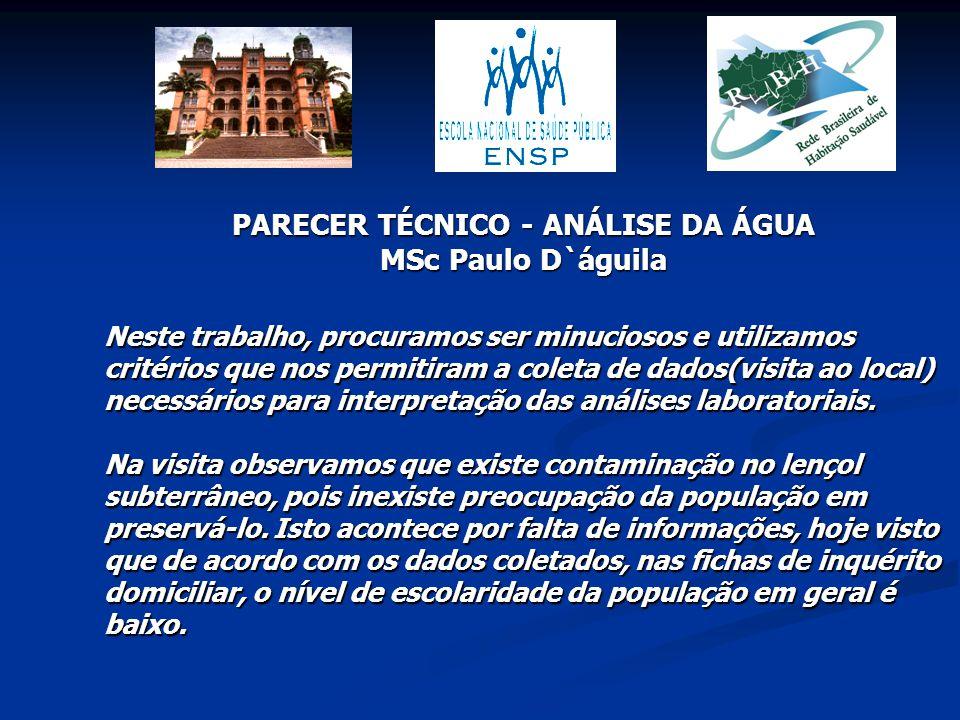 PARECER TÉCNICO - ANÁLISE DA ÁGUA MSc Paulo D`águila Neste trabalho, procuramos ser minuciosos e utilizamos critérios que nos permitiram a coleta de d