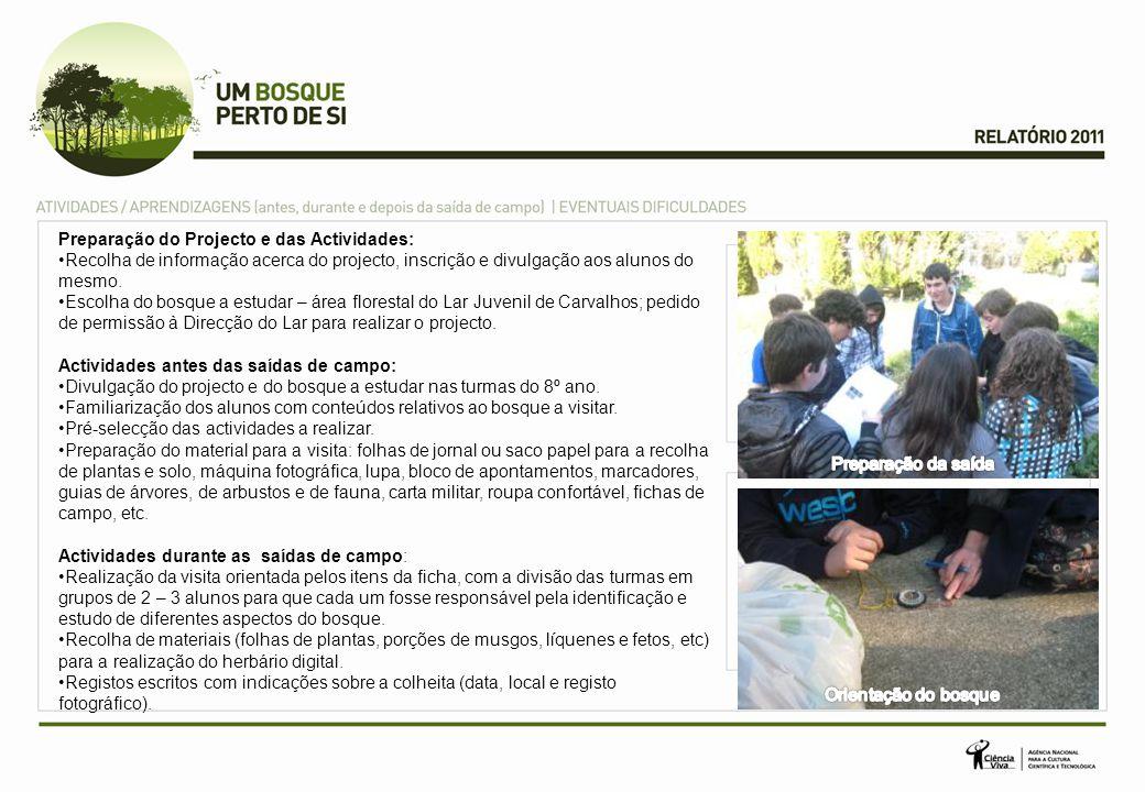Preparação do Projecto e das Actividades: Recolha de informação acerca do projecto, inscrição e divulgação aos alunos do mesmo. Escolha do bosque a es