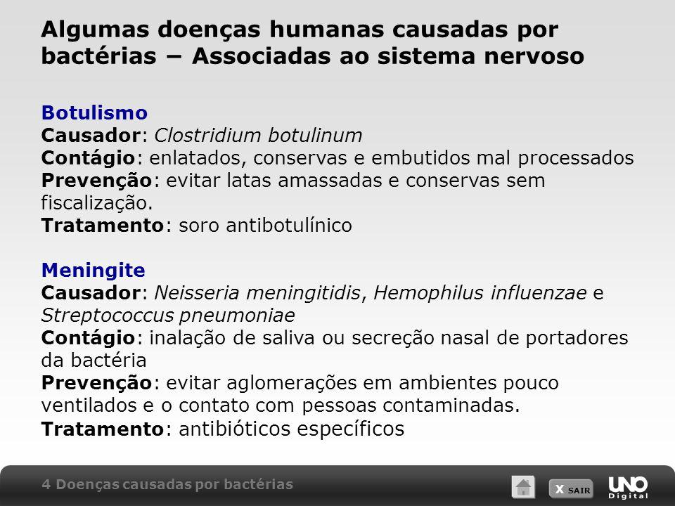 X SAIR Algumas doenças humanas causadas por bactérias − Associadas ao sistema nervoso Botulismo Causador: Clostridium botulinum Contágio: enlatados, c