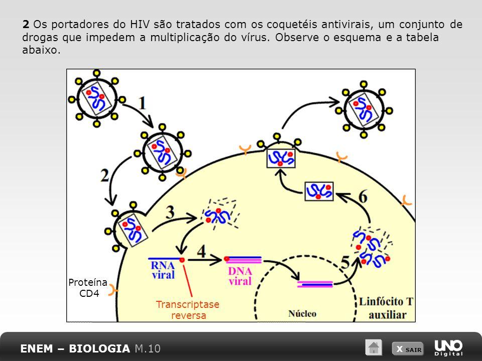 X SAIR 2 Os portadores do HIV são tratados com os coquetéis antivirais, um conjunto de drogas que impedem a multiplicação do vírus. Observe o esquema