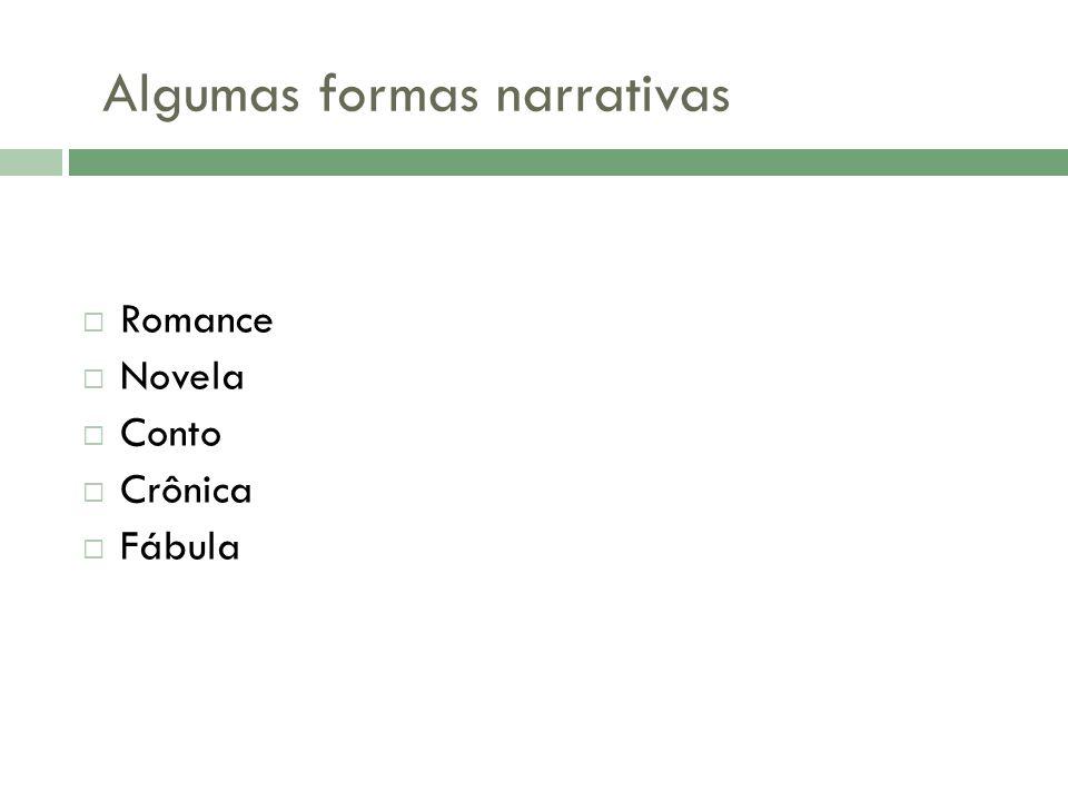 Algumas formas narrativas  Romance  Novela  Conto  Crônica  Fábula