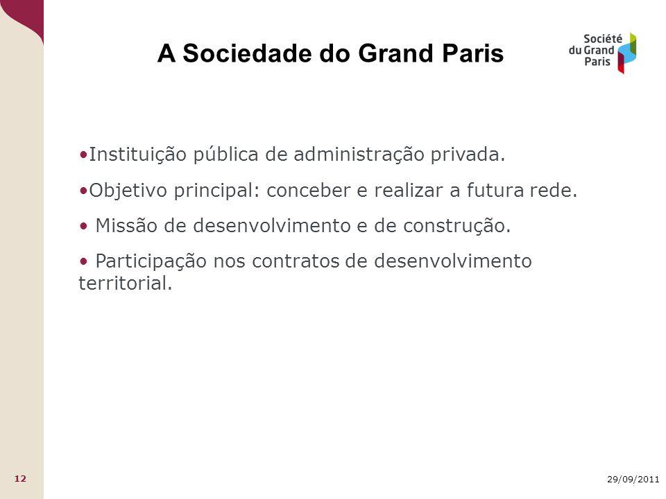 29/09/2011 12 A Sociedade do Grand Paris Instituição pública de administração privada. Objetivo principal: conceber e realizar a futura rede. Missão d
