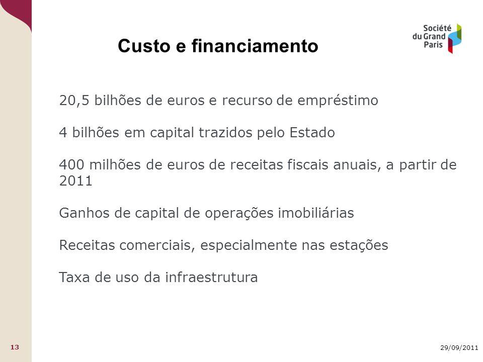 29/09/2011 13 Custo e financiamento 20,5 bilhões de euros e recurso de empréstimo 4 bilhões em capital trazidos pelo Estado 400 milhões de euros de re