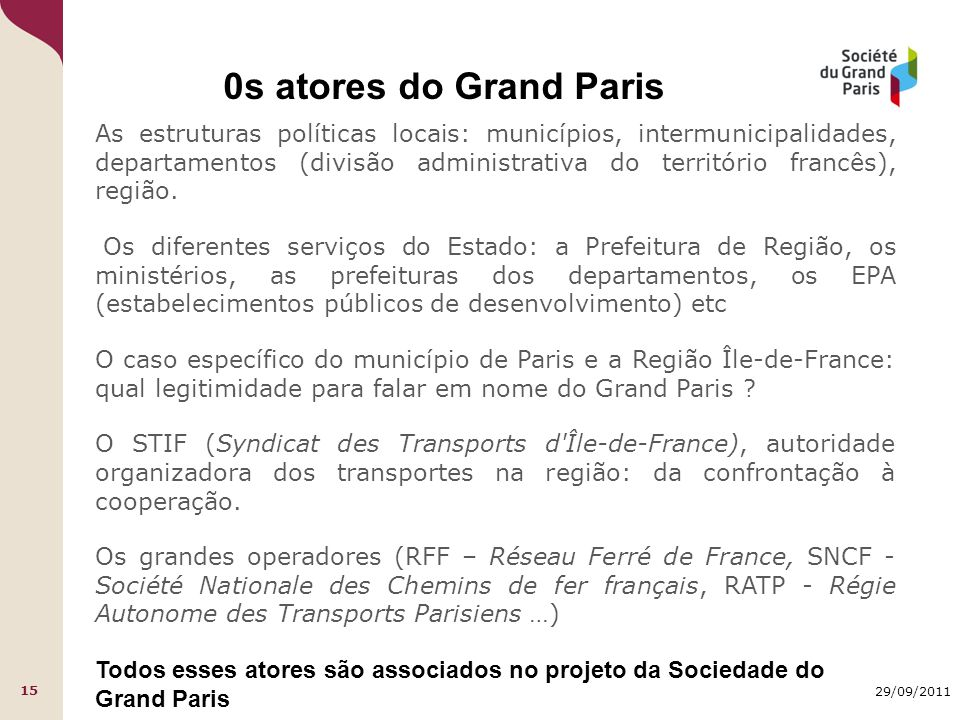 29/09/2011 15 0s atores do Grand Paris As estruturas políticas locais: municípios, intermunicipalidades, departamentos (divisão administrativa do território francês), região.