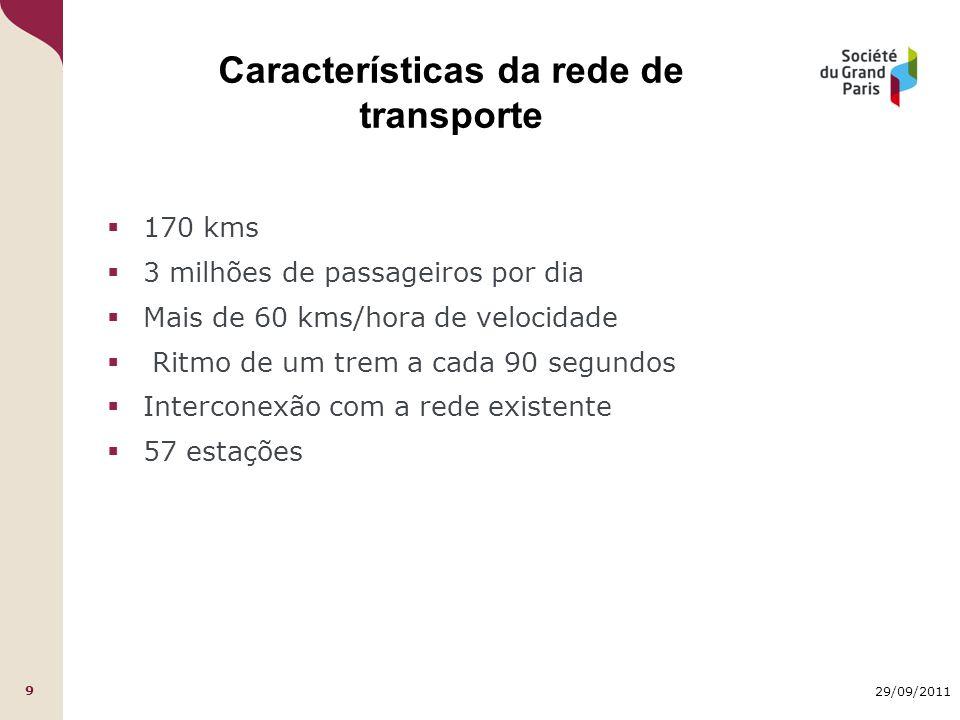 29/09/2011 9 Características da rede de transporte  170 kms  3 milhões de passageiros por dia  Mais de 60 kms/hora de velocidade  Ritmo de um trem a cada 90 segundos  Interconexão com a rede existente  57 estações