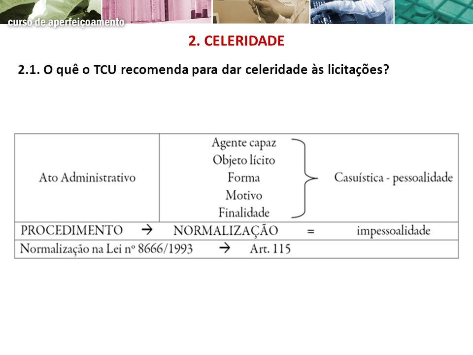 2.1. O quê o TCU recomenda para dar celeridade às licitações? 2. CELERIDADE