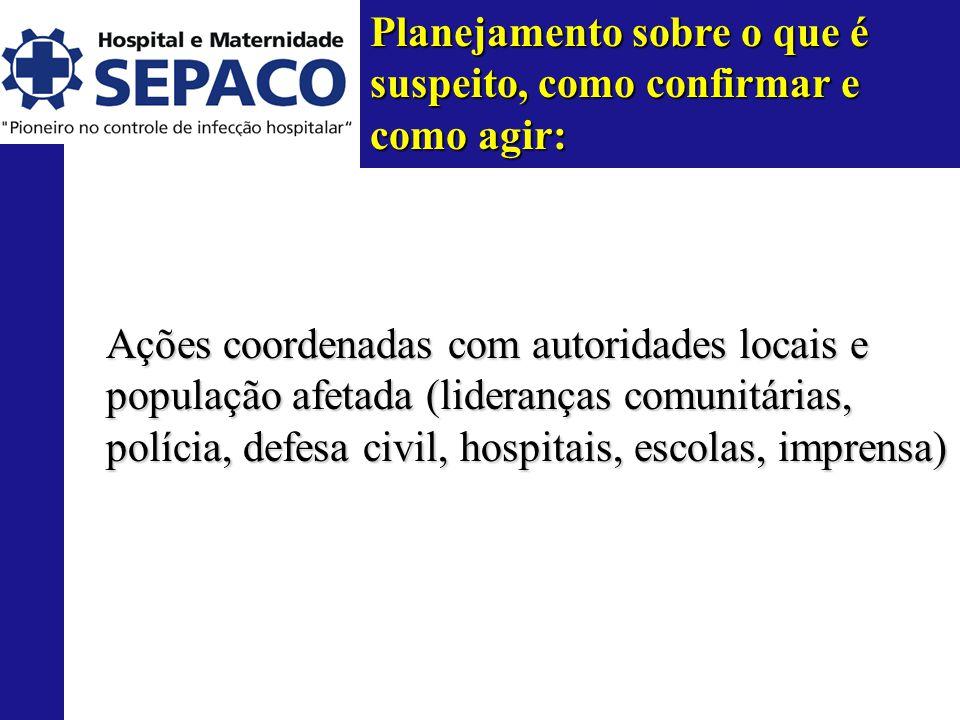 Planejamento sobre o que é suspeito, como confirmar e como agir: Ações coordenadas com autoridades locais e população afetada (lideranças comunitárias, polícia, defesa civil, hospitais, escolas, imprensa)