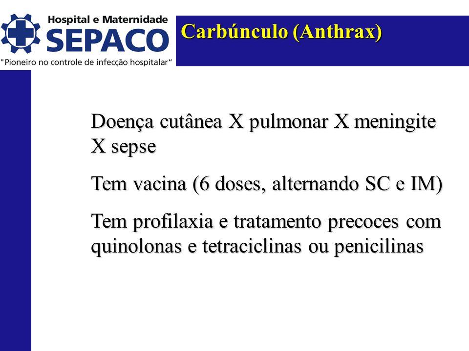 Carbúnculo (Anthrax) Doença cutânea X pulmonar X meningite X sepse Tem vacina (6 doses, alternando SC e IM) Tem profilaxia e tratamento precoces com quinolonas e tetraciclinas ou penicilinas