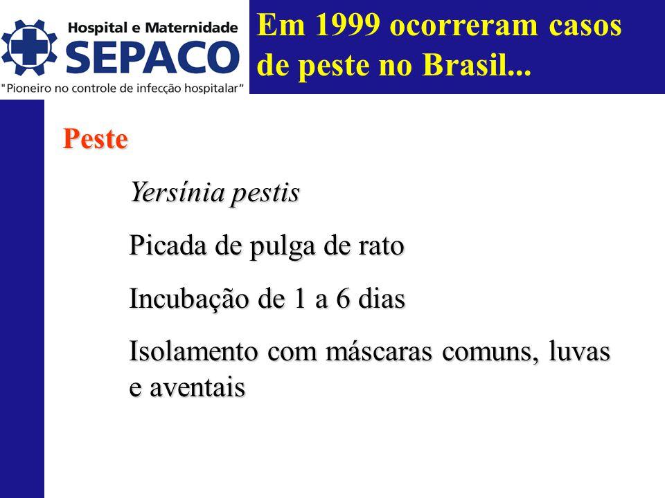 Em 1999 ocorreram casos de peste no Brasil...Peste Yersínia pestis Picada de pulga de rato Incubação de 1 a 6 dias Isolamento com máscaras comuns, luvas e aventais