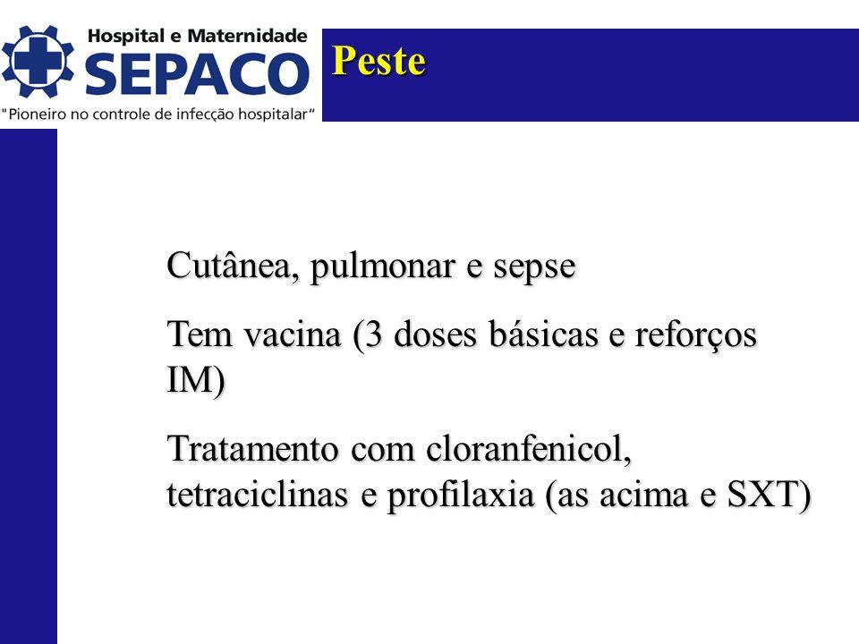 Peste Cutânea, pulmonar e sepse Tem vacina (3 doses básicas e reforços IM) Tratamento com cloranfenicol, tetraciclinas e profilaxia (as acima e SXT)