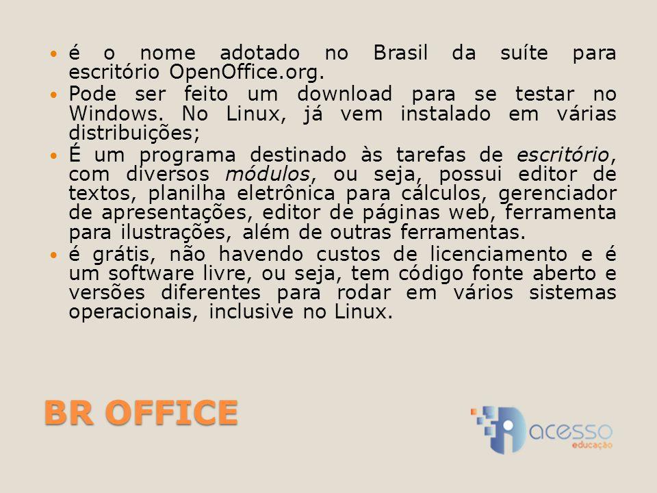 BR OFFICE é o nome adotado no Brasil da suíte para escritório OpenOffice.org. Pode ser feito um download para se testar no Windows. No Linux, já vem i