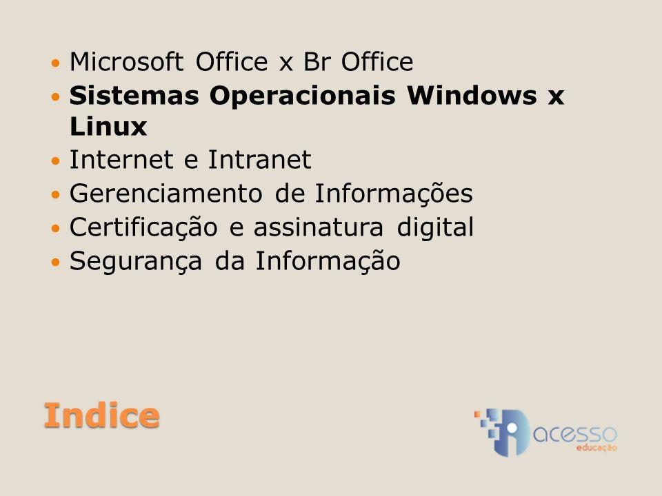 Indice Microsoft Office x Br Office Sistemas Operacionais Windows x Linux Internet e Intranet Gerenciamento de Informações Certificação e assinatura digital Segurança da Informação