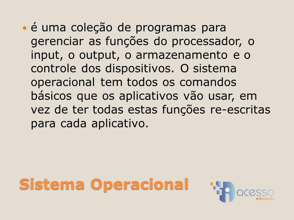 Sistema Operacional é uma coleção de programas para gerenciar as funções do processador, o input, o output, o armazenamento e o controle dos dispositivos.