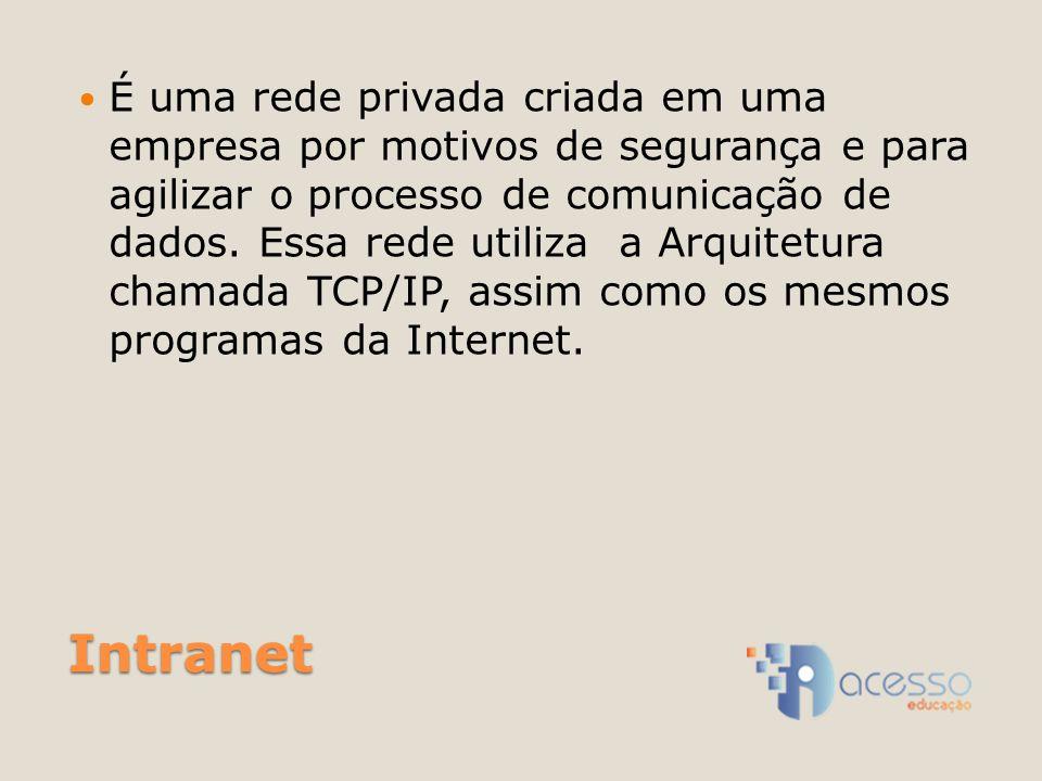 Intranet É uma rede privada criada em uma empresa por motivos de segurança e para agilizar o processo de comunicação de dados.