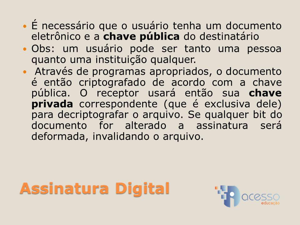 Assinatura Digital É necessário que o usuário tenha um documento eletrônico e a chave pública do destinatário Obs: um usuário pode ser tanto uma pessoa quanto uma instituição qualquer.