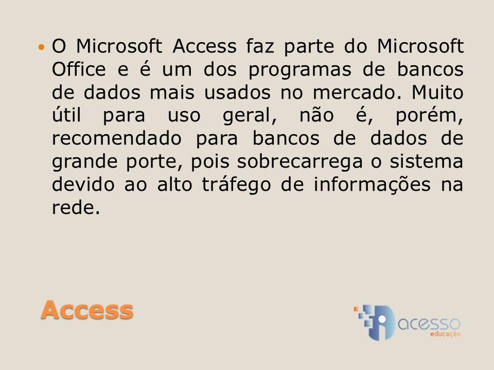 Access O Microsoft Access faz parte do Microsoft Office e é um dos programas de bancos de dados mais usados no mercado. Muito útil para uso geral, não