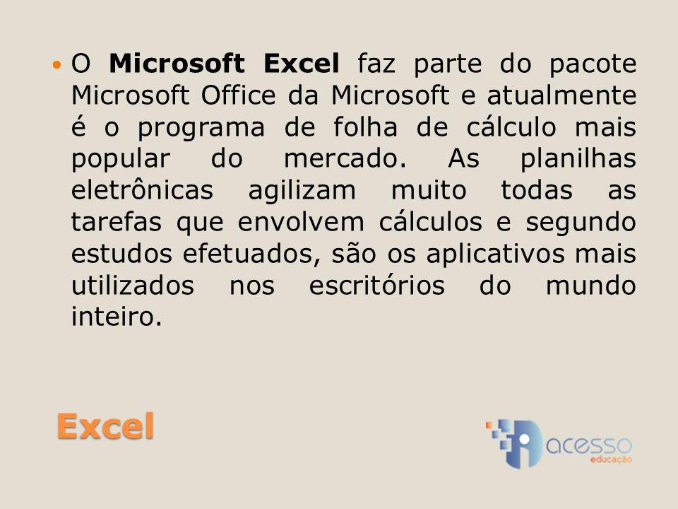 Excel O Microsoft Excel faz parte do pacote Microsoft Office da Microsoft e atualmente é o programa de folha de cálculo mais popular do mercado.
