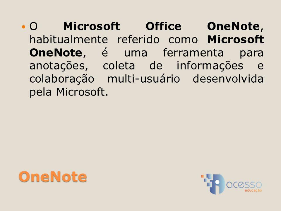 OneNote O Microsoft Office OneNote, habitualmente referido como Microsoft OneNote, é uma ferramenta para anotações, coleta de informações e colaboraçã