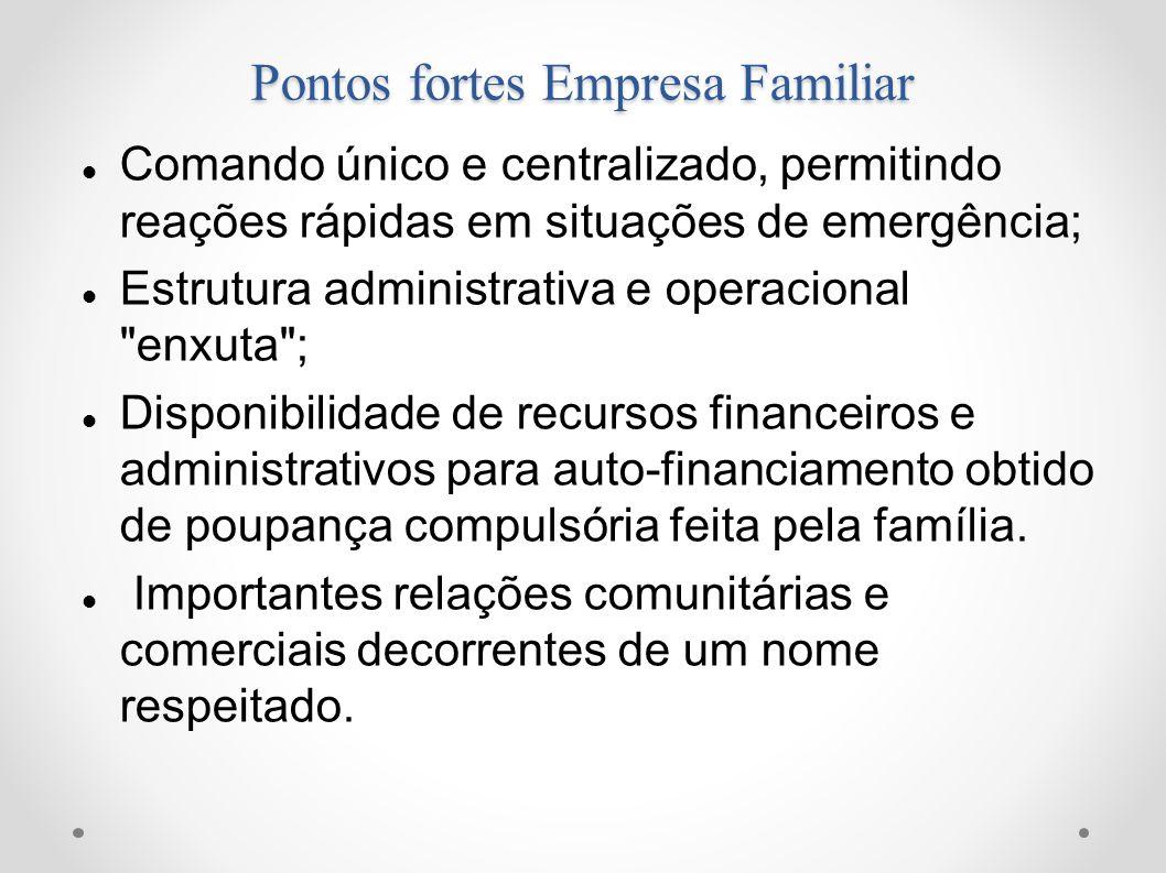 Pontos fortes Empresa Familiar Comando único e centralizado, permitindo reações rápidas em situações de emergência; Estrutura administrativa e operaci