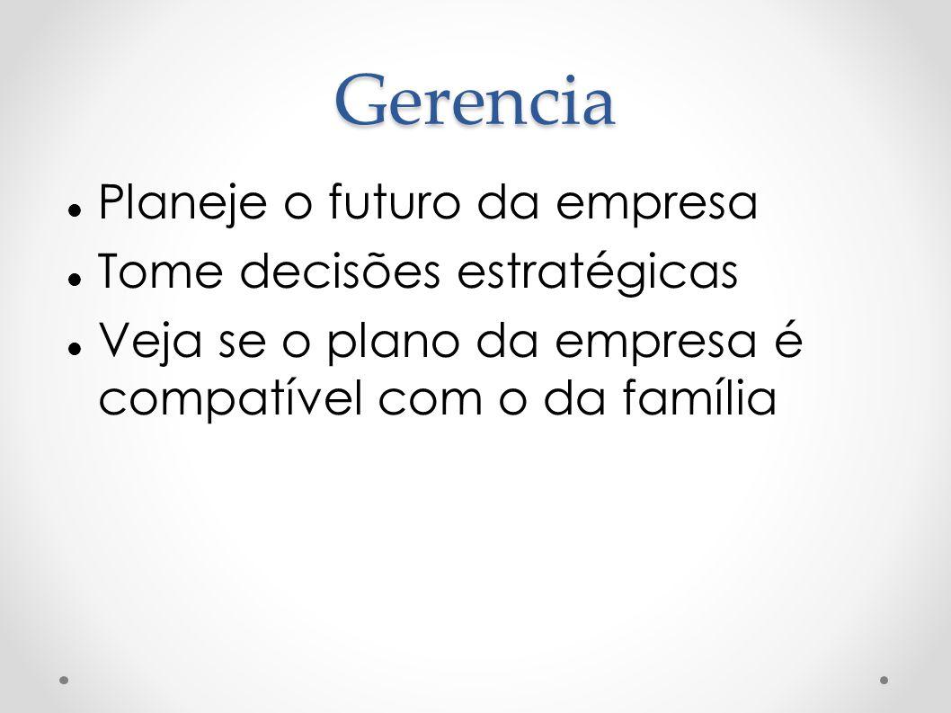 Gerencia Planeje o futuro da empresa Tome decisões estratégicas Veja se o plano da empresa é compatível com o da família