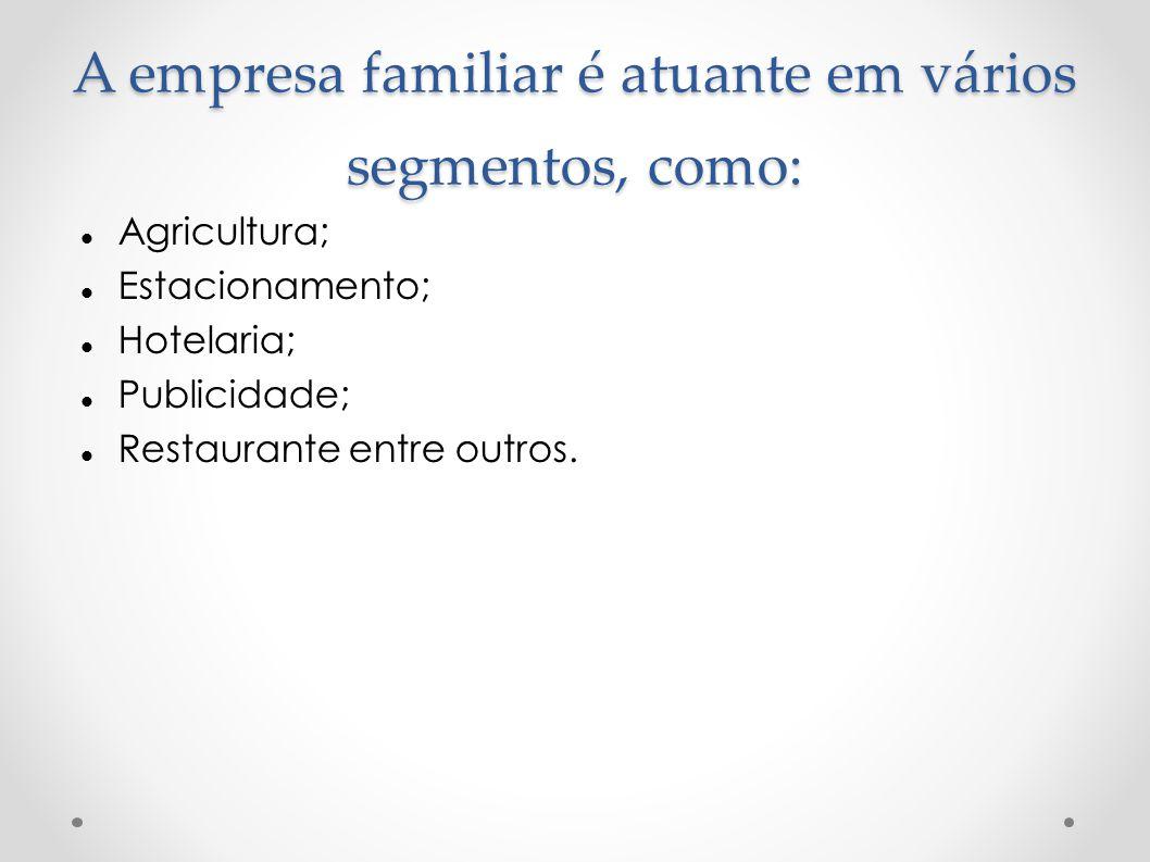 A empresa familiar é atuante em vários segmentos, como: Agricultura; Estacionamento; Hotelaria; Publicidade; Restaurante entre outros.