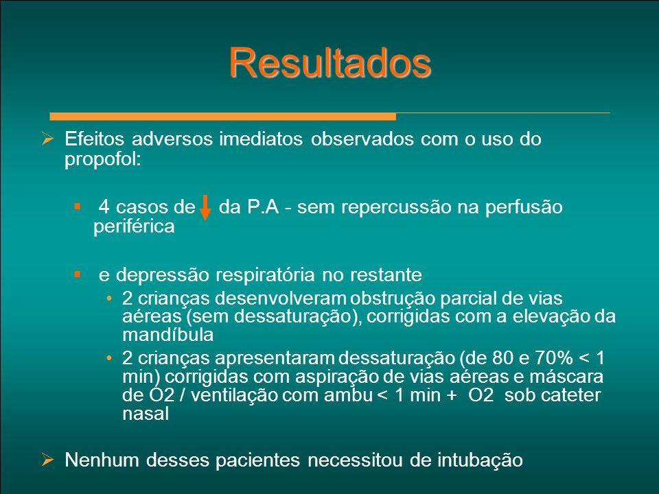 Resultados  Efeitos adversos imediatos observados com o uso do propofol:  4 casos de da P.A - sem repercussão na perfusão periférica  e depressão r