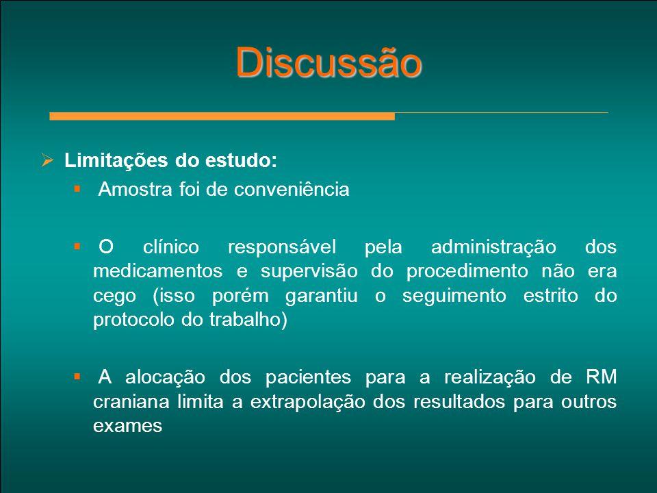Discussão  Limitações do estudo:  Amostra foi de conveniência  O clínico responsável pela administração dos medicamentos e supervisão do procedimen