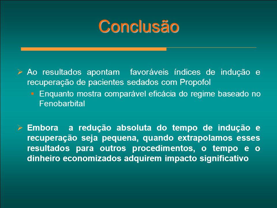  Ao resultados apontam favoráveis índices de indução e recuperação de pacientes sedados com Propofol  Enquanto mostra comparável eficácia do regime