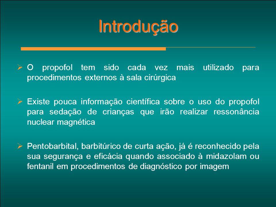Introdução  O propofol tem sido cada vez mais utilizado para procedimentos externos à sala cirúrgica  Existe pouca informação científica sobre o uso