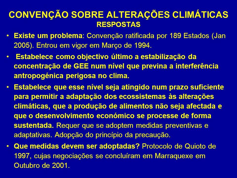 CONVENÇÃO SOBRE ALTERAÇÕES CLIMÁTICAS RESPOSTAS Existe um problema: Convenção ratificada por 189 Estados (Jan 2005). Entrou em vigor em Março de 1994.