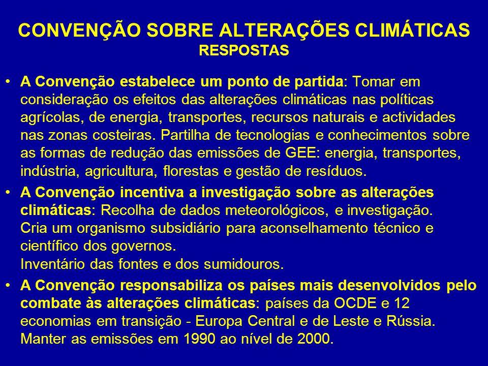 CONVENÇÃO SOBRE ALTERAÇÕES CLIMÁTICAS RESPOSTAS A Convenção estabelece um ponto de partida: Tomar em consideração os efeitos das alterações climáticas