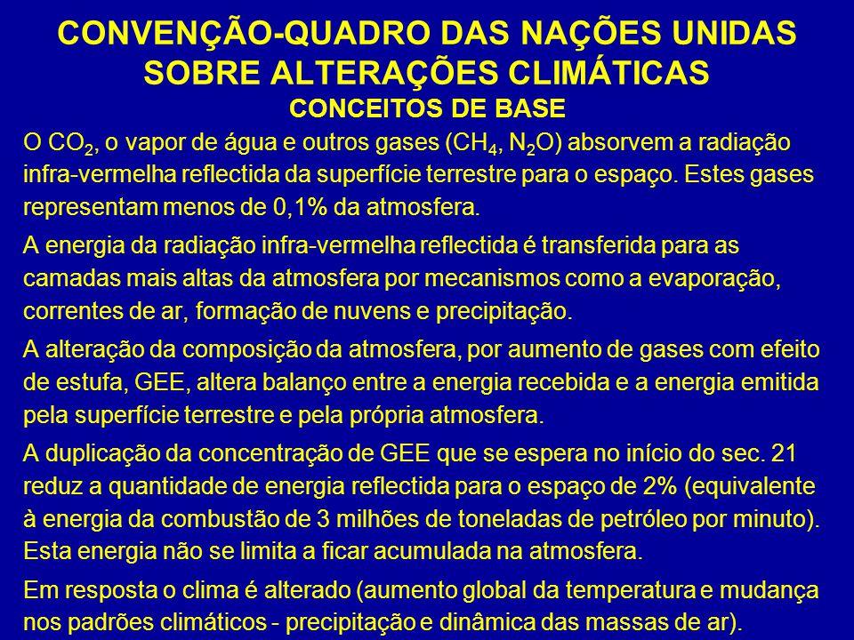 CONVENÇÃO-QUADRO DAS NAÇÕES UNIDAS SOBRE ALTERAÇÕES CLIMÁTICAS CONCEITOS DE BASE O CO 2, o vapor de água e outros gases (CH 4, N 2 O) absorvem a radia