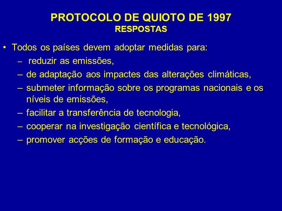 PROTOCOLO DE QUIOTO DE 1997 RESPOSTAS Todos os países devem adoptar medidas para: – reduzir as emissões, –de adaptação aos impactes das alterações cli