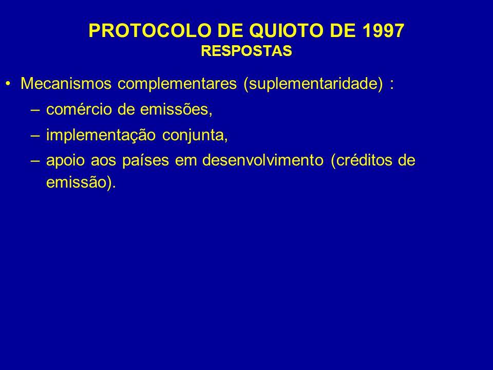 PROTOCOLO DE QUIOTO DE 1997 RESPOSTAS Mecanismos complementares (suplementaridade) : –comércio de emissões, –implementação conjunta, –apoio aos países