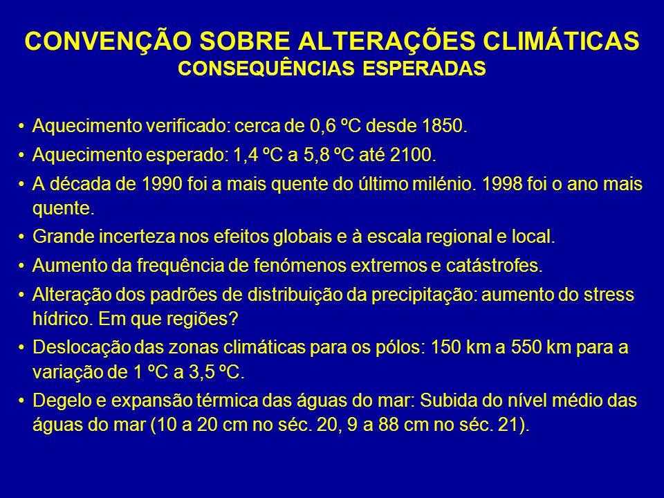 CONVENÇÃO SOBRE ALTERAÇÕES CLIMÁTICAS CONSEQUÊNCIAS ESPERADAS Aquecimento verificado: cerca de 0,6 ºC desde 1850. Aquecimento esperado: 1,4 ºC a 5,8 º