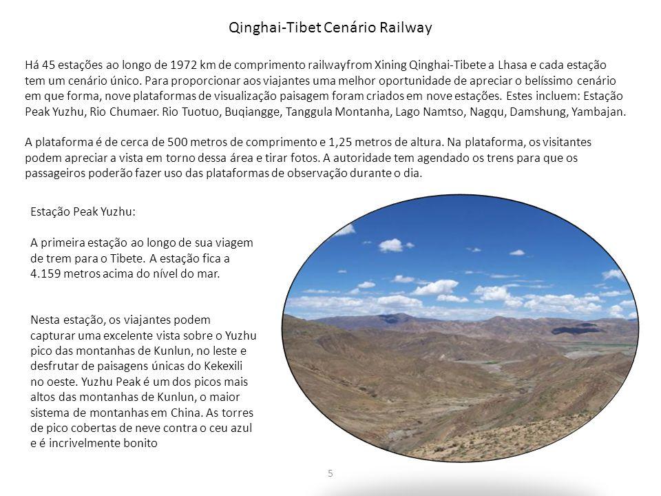 Qinghai-Tibet Cenário Railway Há 45 estações ao longo de 1972 km de comprimento railwayfrom Xining Qinghai-Tibete a Lhasa e cada estação tem um cenári