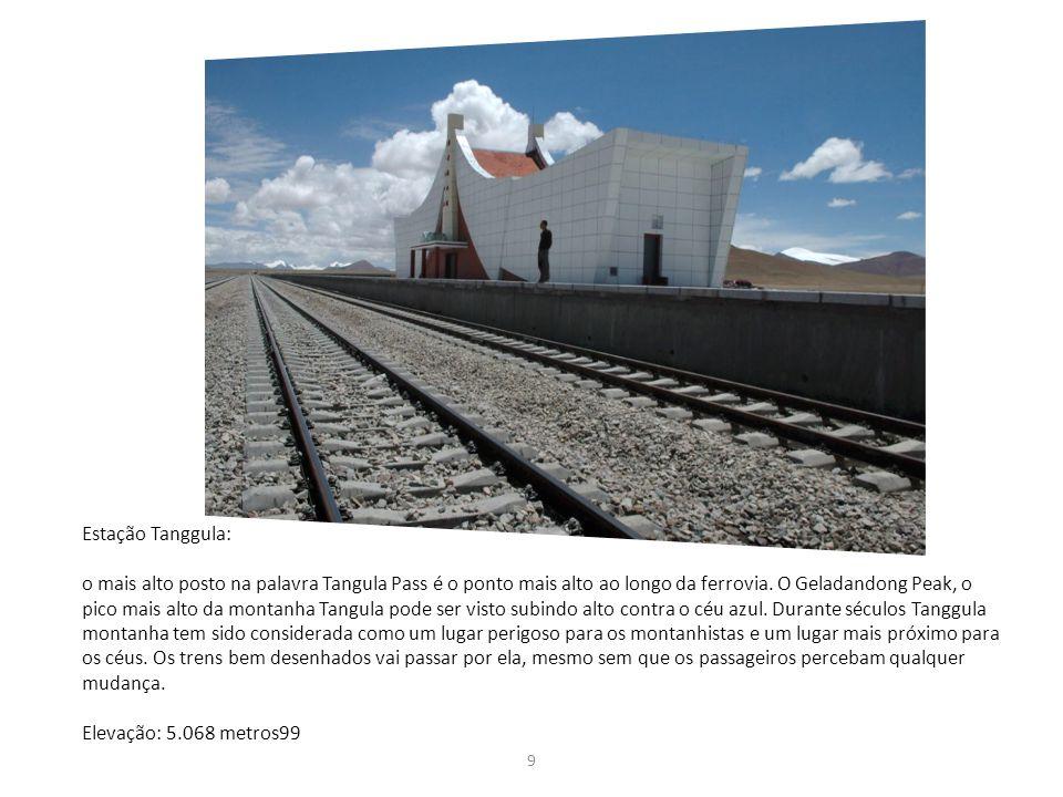 9 Estação Tanggula: o mais alto posto na palavra Tangula Pass é o ponto mais alto ao longo da ferrovia. O Geladandong Peak, o pico mais alto da montan