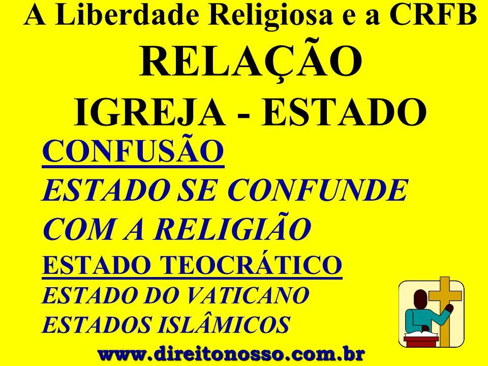 A Liberdade Religiosa e a CRFB RELAÇÃO IGREJA - ESTADO CONFUSÃO ESTADO SE CONFUNDE COM A RELIGIÃO ESTADO TEOCRÁTICO ESTADO DO VATICANO ESTADOS ISLÂMIC