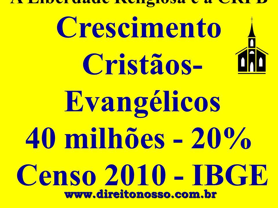 A Liberdade Religiosa e a CRFB Crescimento Cristãos- Evangélicos 40 milhões - 20% Censo 2010 - IBGE www.direitonosso.com.br