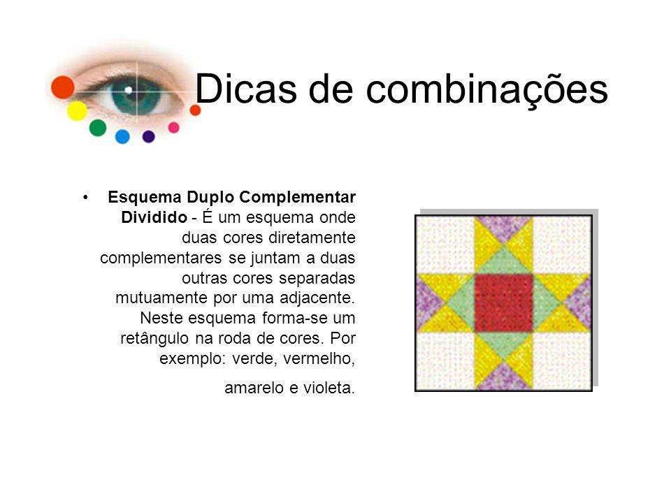 Dicas de combinações Esquema Duplo Complementar Dividido - É um esquema onde duas cores diretamente complementares se juntam a duas outras cores separ