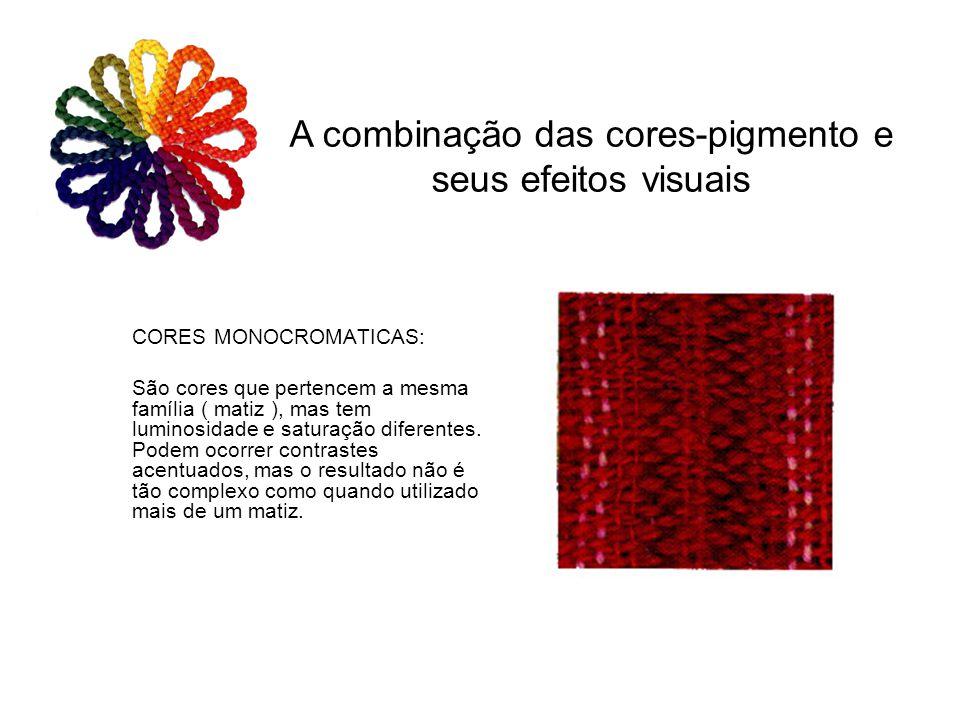 CORES MONOCROMATICAS: São cores que pertencem a mesma família ( matiz ), mas tem luminosidade e saturação diferentes. Podem ocorrer contrastes acentua