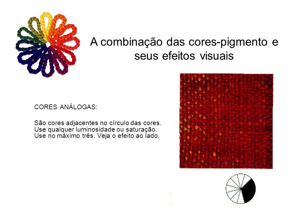 CORES ANÁLOGAS: São cores adjacentes no círculo das cores. Use qualquer luminosidade ou saturação. Use no máximo três. Veja o efeito ao lado. A combin