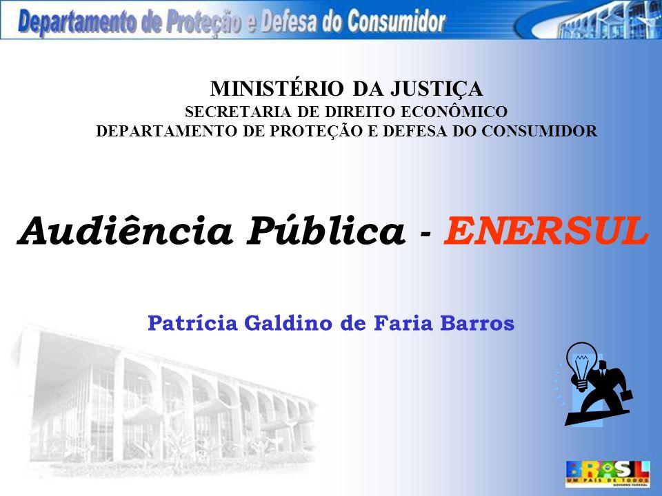 MINISTÉRIO DA JUSTIÇA SECRETARIA DE DIREITO ECONÔMICO DEPARTAMENTO DE PROTEÇÃO E DEFESA DO CONSUMIDOR Audiência Pública - ENERSUL Patrícia Galdino de Faria Barros