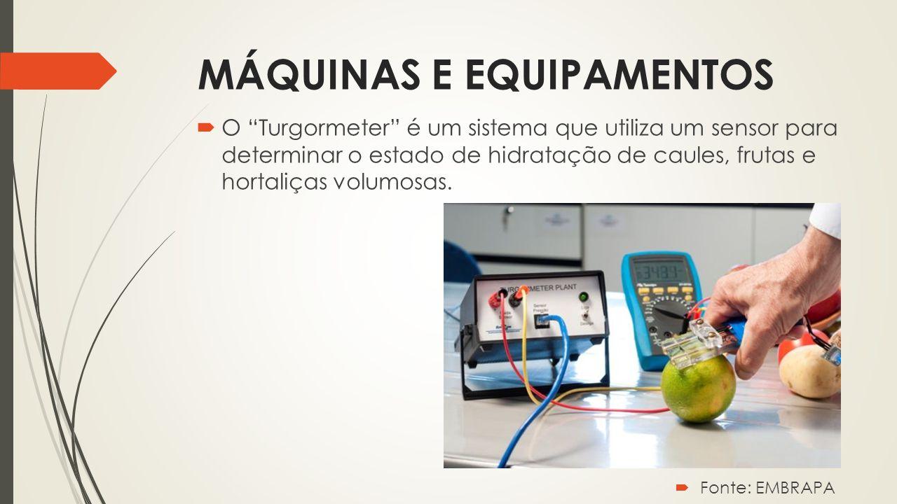 """MÁQUINAS E EQUIPAMENTOS  O """"Turgormeter"""" é um sistema que utiliza um sensor para determinar o estado de hidratação de caules, frutas e hortaliças vol"""