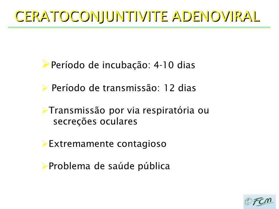 CERATOCONJUNTIVITE ADENOVIRAL  Período de incubação: 4-10 dias  Período de transmissão: 12 dias  Transmissão por via respiratória ou secreções ocul