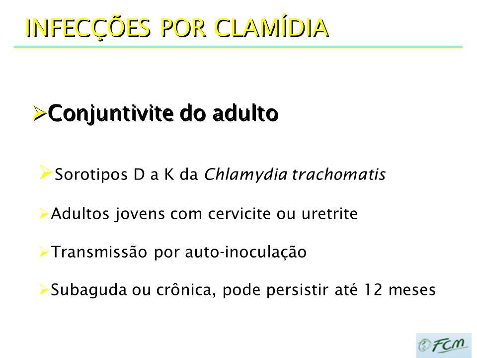  Conjuntivite do adulto INFECÇÕES POR CLAMÍDIA  Sorotipos D a K da Chlamydia trachomatis  Adultos jovens com cervicite ou uretrite  Transmissão po