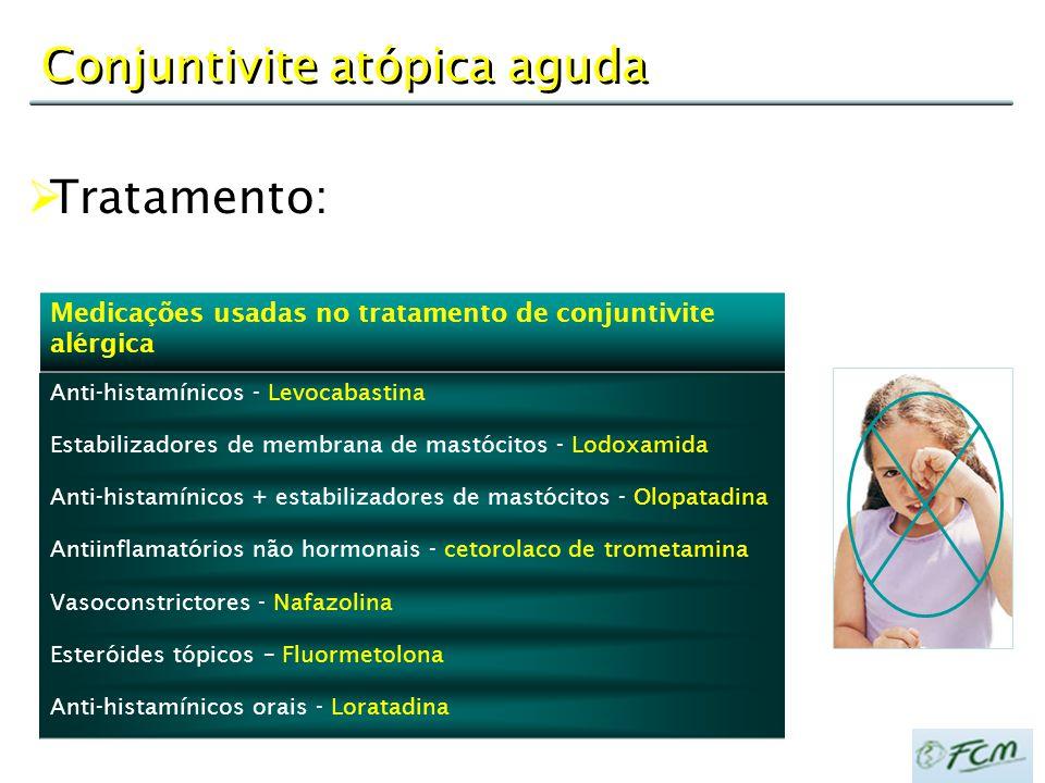 Conjuntivite atópica aguda Medicações usadas no tratamento de conjuntivite alérgica Anti-histamínicos - Levocabastina Estabilizadores de membrana de m