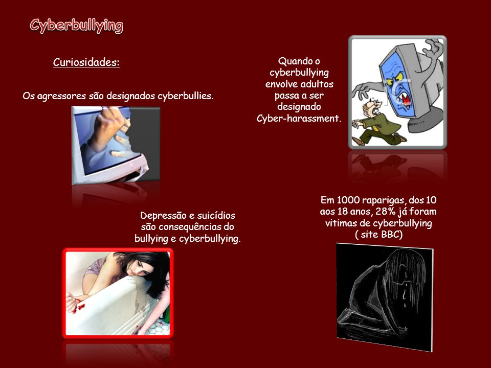 Curiosidades: Depressão e suicídios são consequências do bullying e cyberbullying.