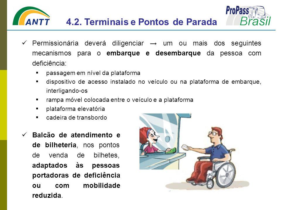 Balcão de atendimento e de bilheteria, nos pontos de venda de bilhetes, adaptados às pessoas portadoras de deficiência ou com mobilidade reduzida. 4.2