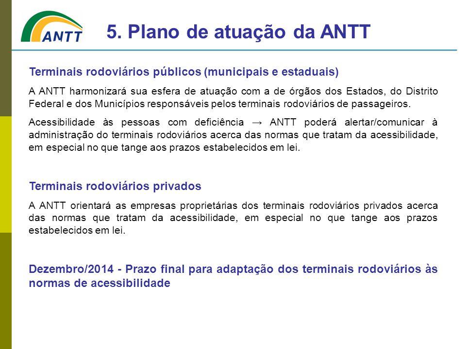 Terminais rodoviários públicos (municipais e estaduais) A ANTT harmonizará sua esfera de atuação com a de órgãos dos Estados, do Distrito Federal e do